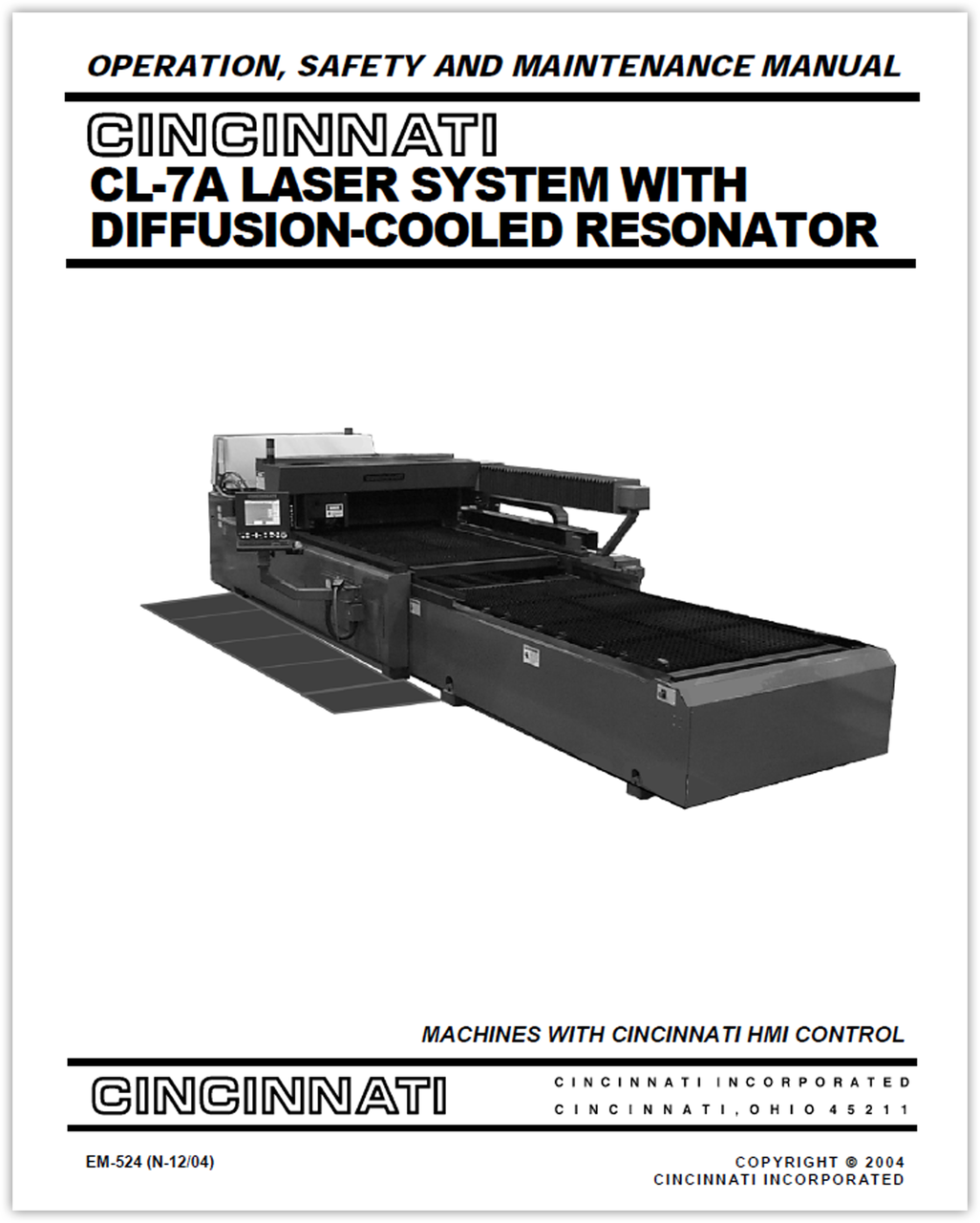 EM-524 (N-12-04) CL-7A Laser System with Diffusion-Cooled Resonator - Operation, Safety and Maintenance Manual - Machines with HMI Control