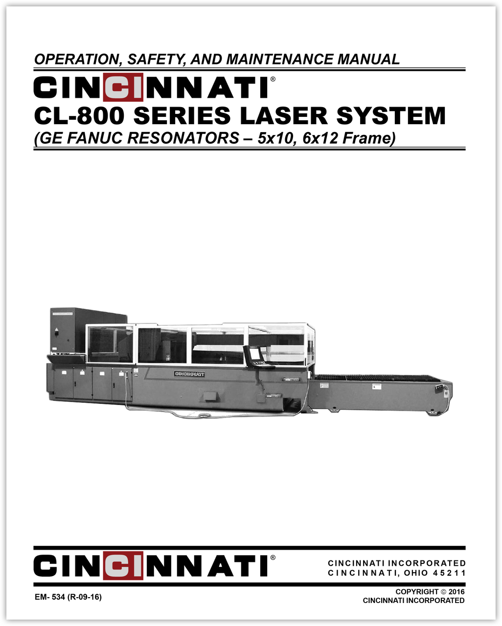 EM-534 (R-09-16) CL-800 Series Laser System_Operation, Safety and Maintenance Manual