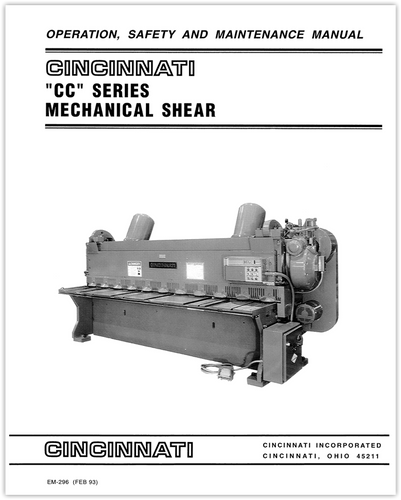 EM-296 (FEB 93) CC Series Mechanical Shear Operation, Safety and Maintenance Manual