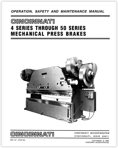 EM-147 (FEB 93) - 4 Series Through 50 Series Mechanical Press Brakes - Operation, Safety and Maintenance Manual