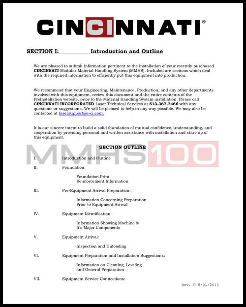 MMHS Preinstallation Document (MMHS-100)