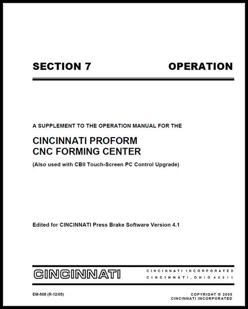 EM-508 (V41_R-12-05) SECTION 7 OPERATION PROFORM PC Control Supplement Manual