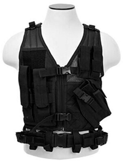 NcSTAR VISM Youth Tactical Crossdraw Vest Black