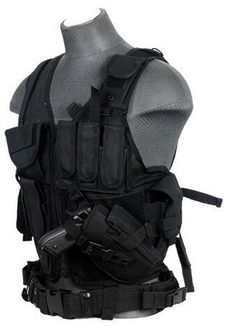 Lancer Tactical Airsoft Cross Draw Tactical Vest Black