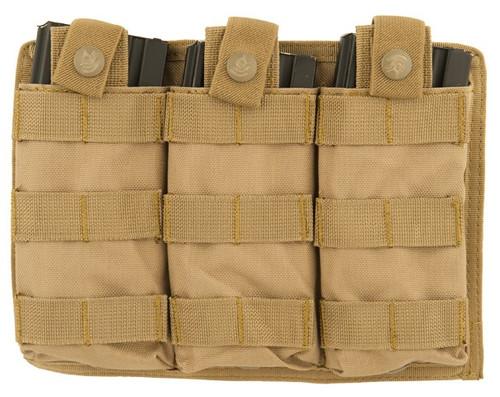 Lancer Tactical MOLLE M4 Triple Mag Pouch Tan