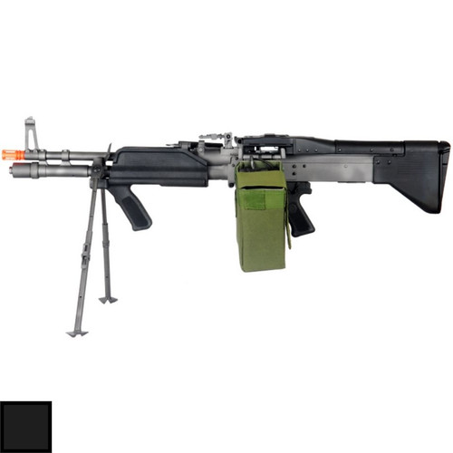 A&K Mk43 Mod 0 M60 Left side view with bipod down and Box Magazine with Color Swatch