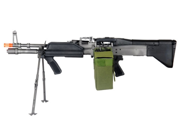 A&K Mk43 Mod 0 M60 Left side view with bipod down and Box Magazine