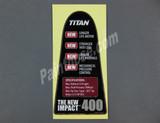 Titan 0532715 or 532715 Features Label Impact 400 - OEM