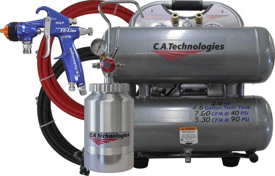 C.A. Technologies GO-CP-FELCFM-130 – GO FELCFM 2 Qt Cup HVLP Paint Sprayer w/ Portable Compressor