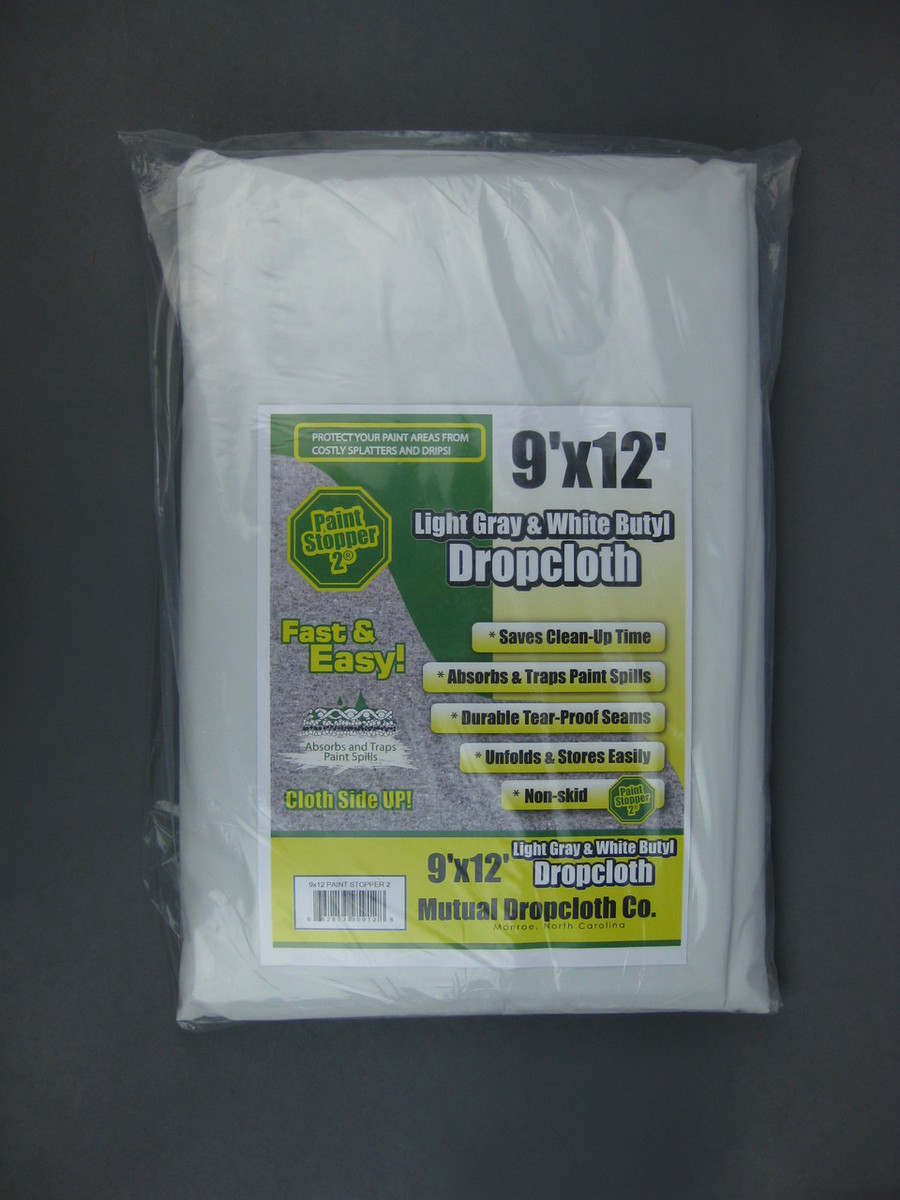 Light Gray and White Butyl 9' x 12' Drop Cloth 6-Pack