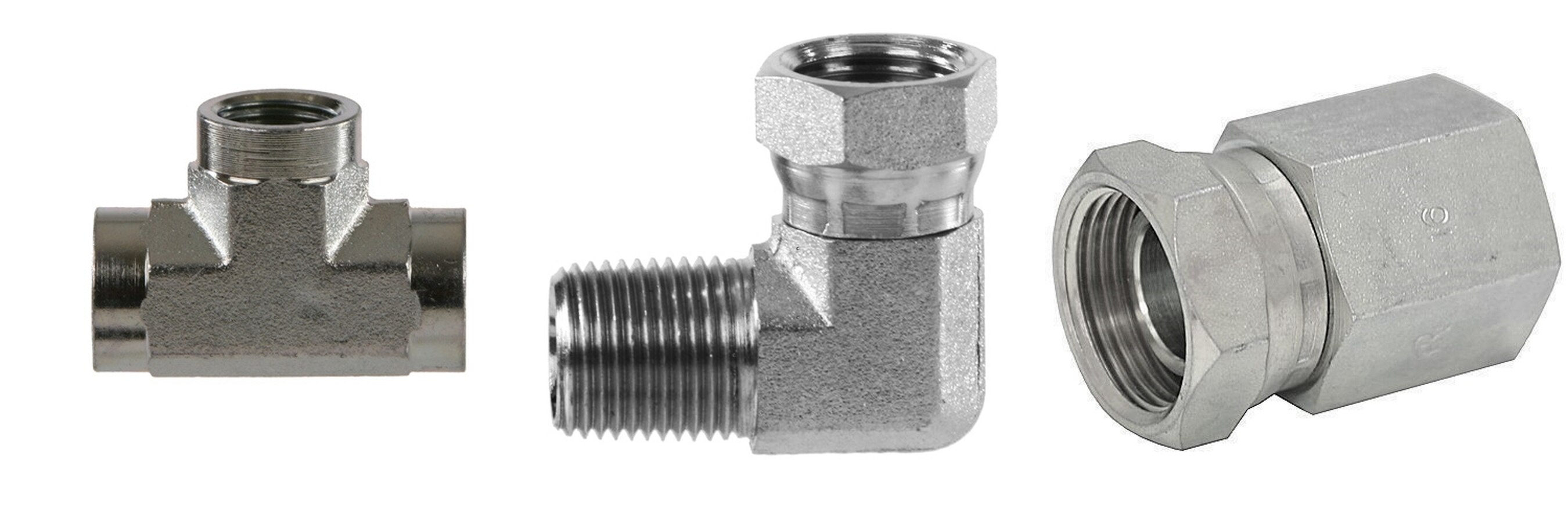 High pressure hydraulic fittings, tees, swivels, elbows and more.