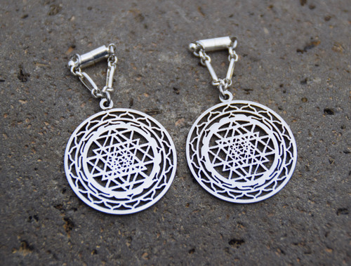 Sri Yantra Sacred Geometry Magnetic Clasp Gauged Earrings - Available in  Silver or Gold