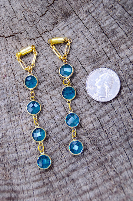 Blue Faceted Hanging Gauged Earrings Dangly Magnetic