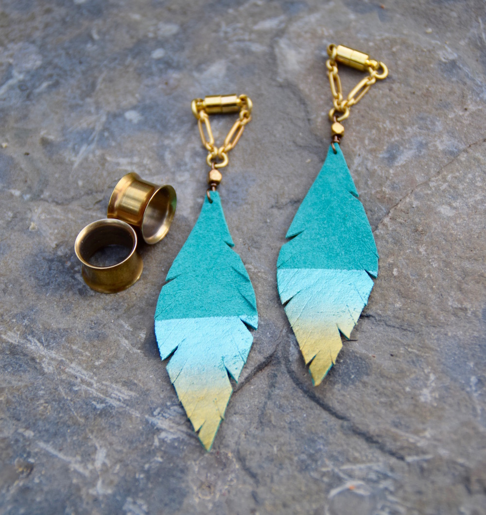 gauges-plugs-teal-gold-leather-feather-magnetic-clasp.jpg