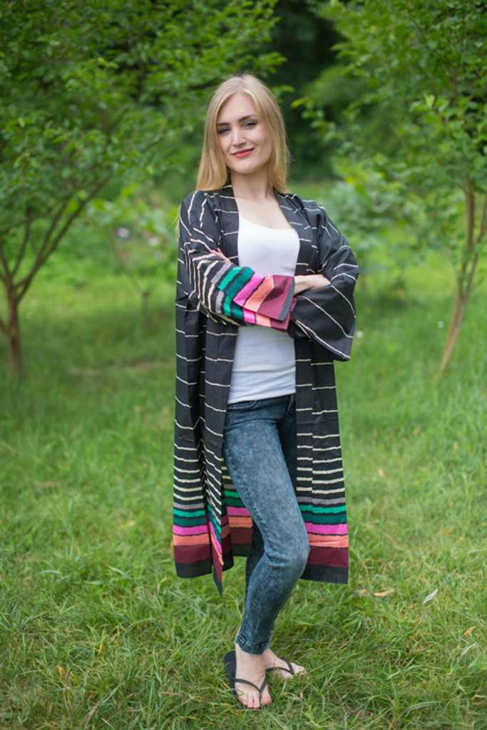 """Free Bird"" Kimono jacket in Multicolored Stripes pattern"