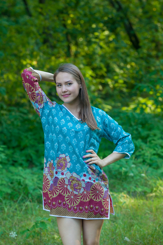 """Sun and Sand"" Beach Tunic in Floral Bordered pattern"