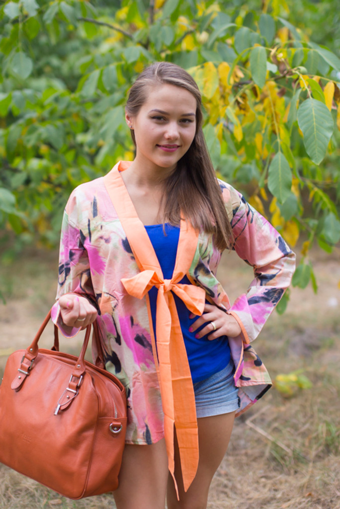 """Bow and Me"" Kimono jacket in Flamingo Watercolor pattern"