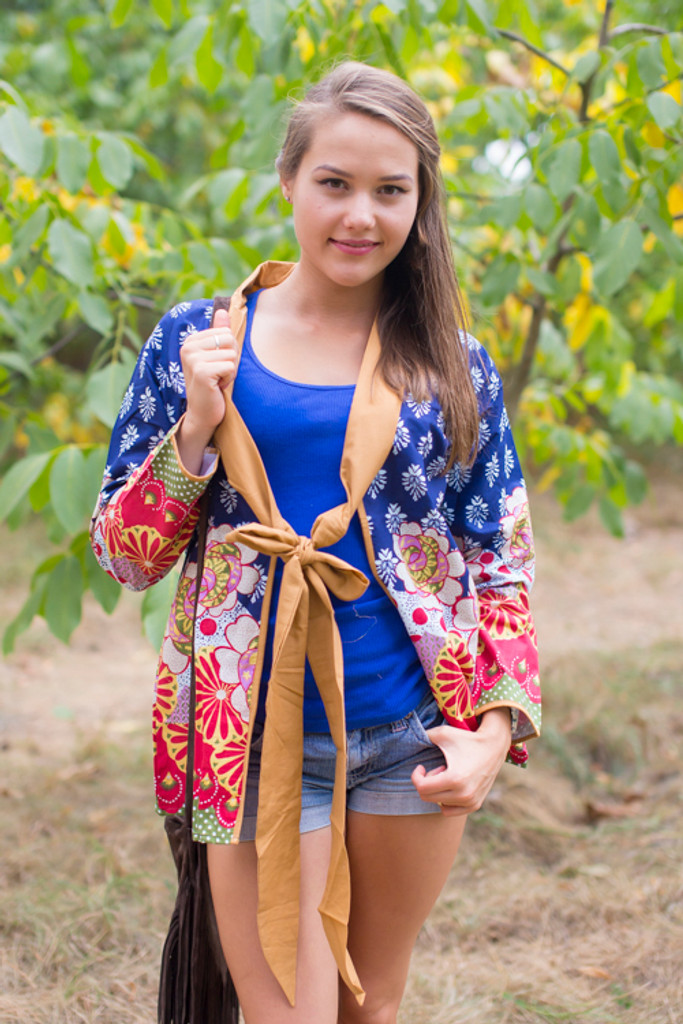 """""""Bow and Me"""" Kimono jacket in Floral Bordered pattern"""
