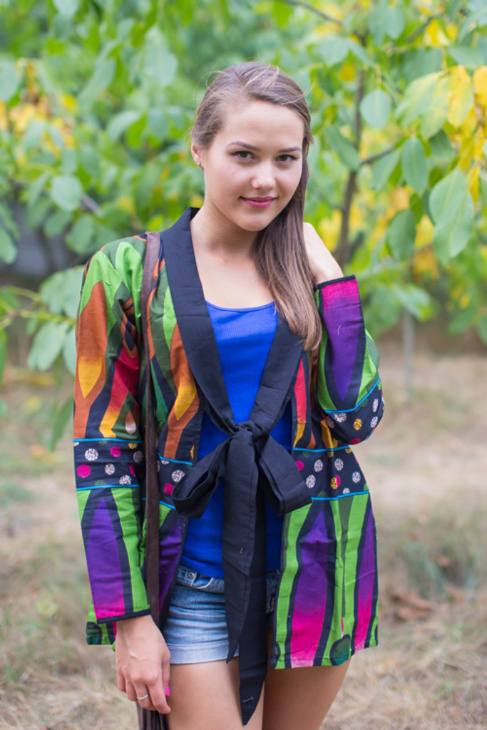 """Bow and Me"" Kimono jacket in Glowing Flame pattern"