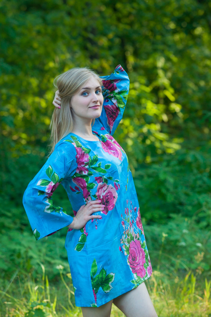 """""""Sun and Sand"""" Beach Tunic in Large Fuchsia Floral Blossom pattern"""