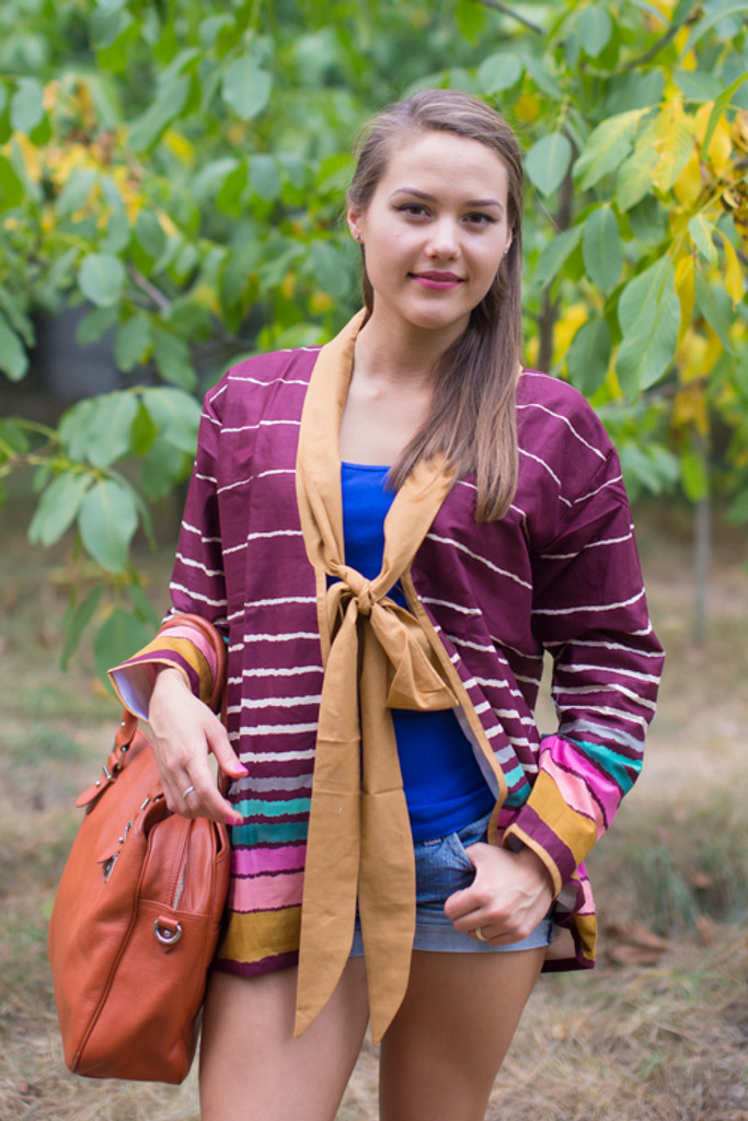 """""""Bow and Me"""" Kimono jacket in Multicolored Stripes pattern"""