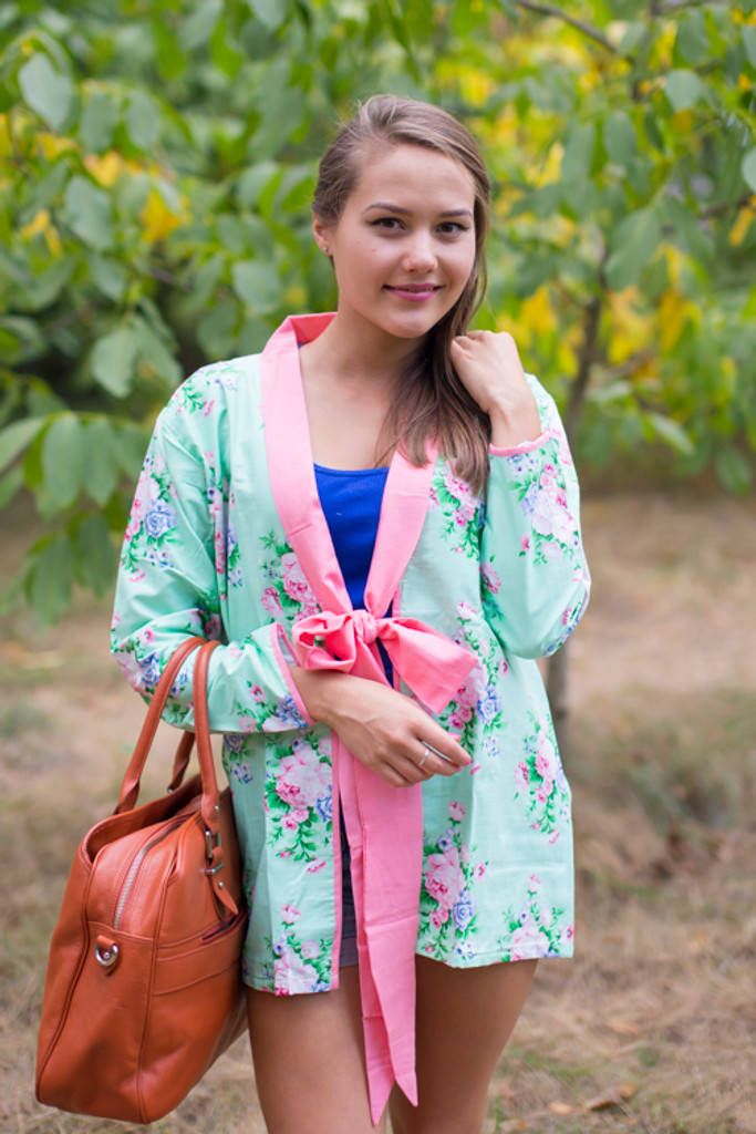 """""""Bow and Me"""" Kimono jacket in Pink Peonies pattern"""