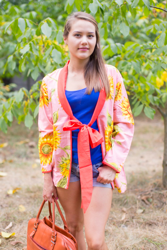 """Bow and Me"" Kimono jacket in Sunflower Sweet pattern"