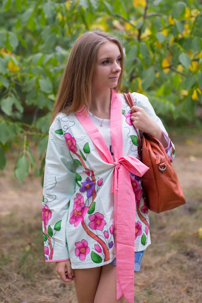 """Bow and Me"" Kimono jacket in Swirly Floral Vine pattern"