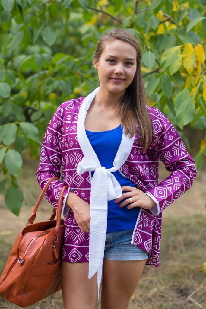 """""""Bow and Me"""" Kimono jacket in Tribal Aztec pattern"""