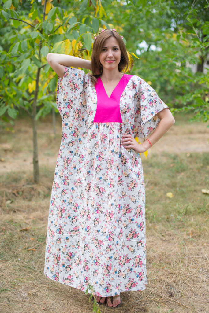 """Flowing River"" kaftan in Vintage Chic Floral pattern"