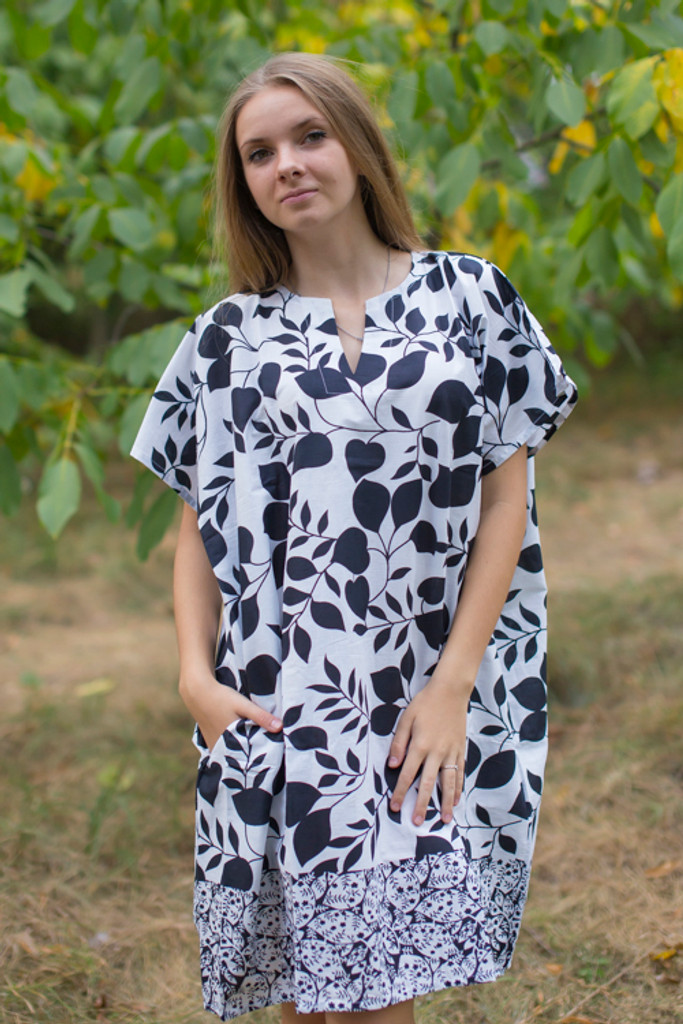 """Sunshine"" Tunic Dress kaftan in Classic White Black pattern"