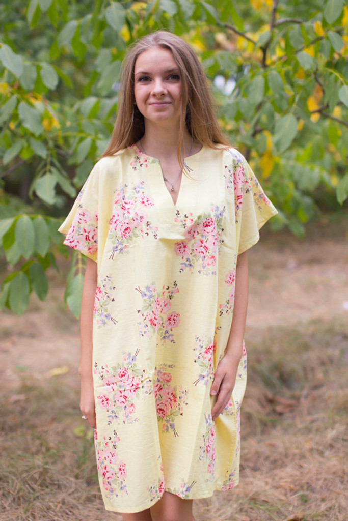 """Sunshine"" Tunic Dress kaftan in Faded Flowers pattern"