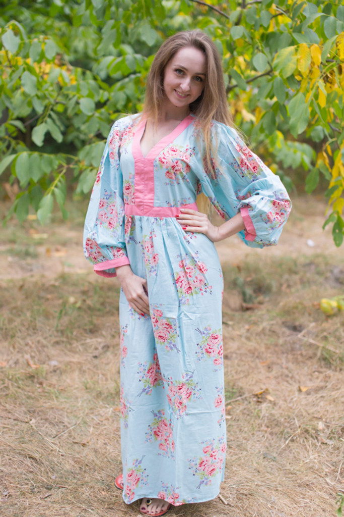 """My Peasant Dress"" kaftan in Faded Flowers pattern"