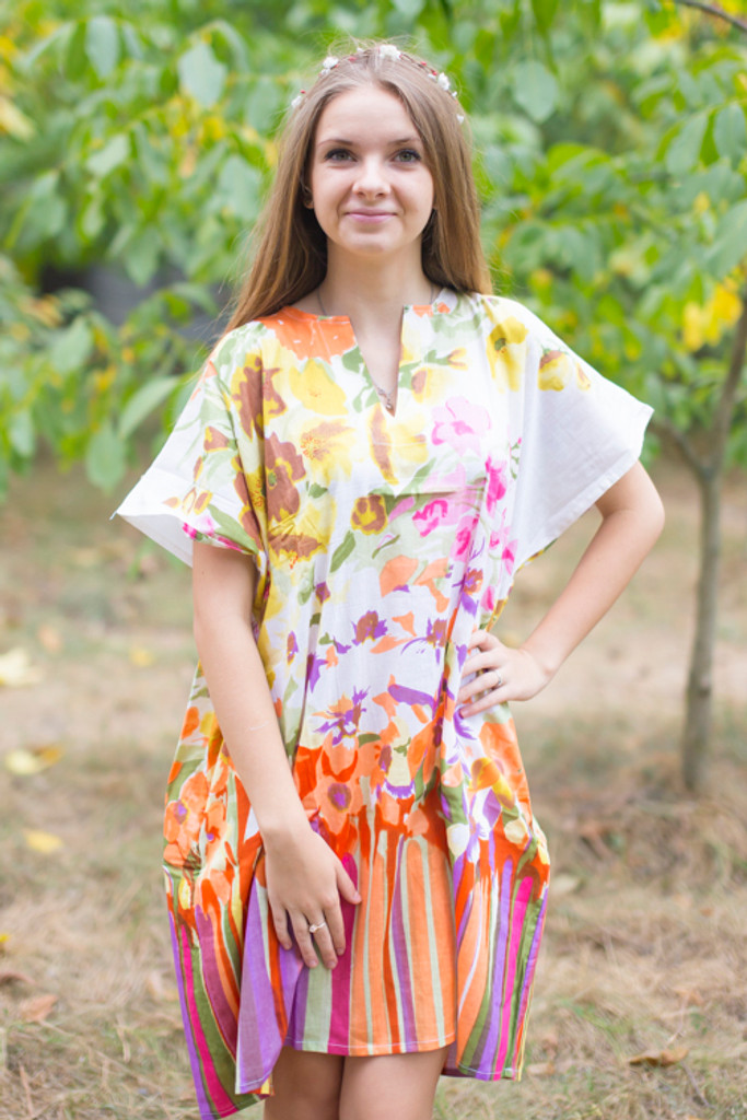 """""""Sunshine"""" Tunic Dress kaftan in Floral Watercolor Painting pattern"""