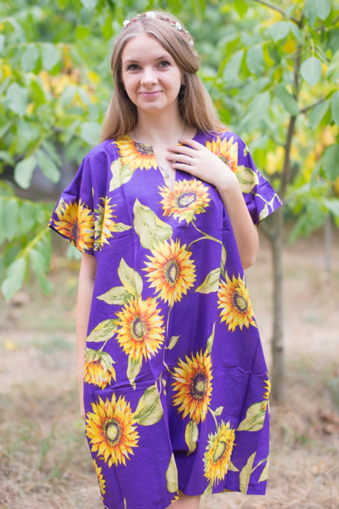 """Sunshine"" Tunic Dress kaftan in Sunflower Sweet pattern"
