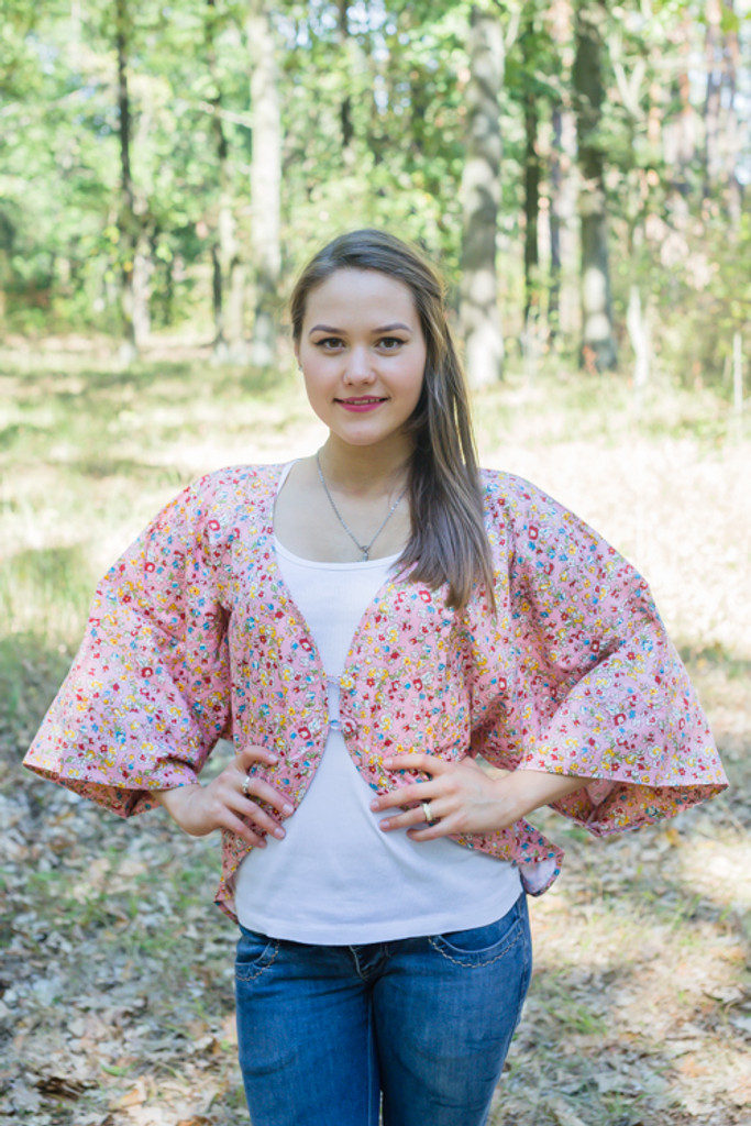 """Fly towards Glory"" Kimono jacket in Petit Florals pattern"