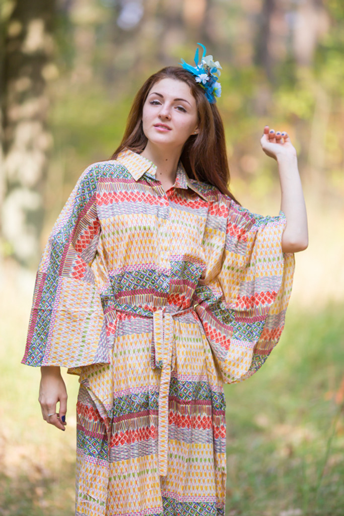"""Oriental Delight"" kaftan in Abstract Geometric pattern"