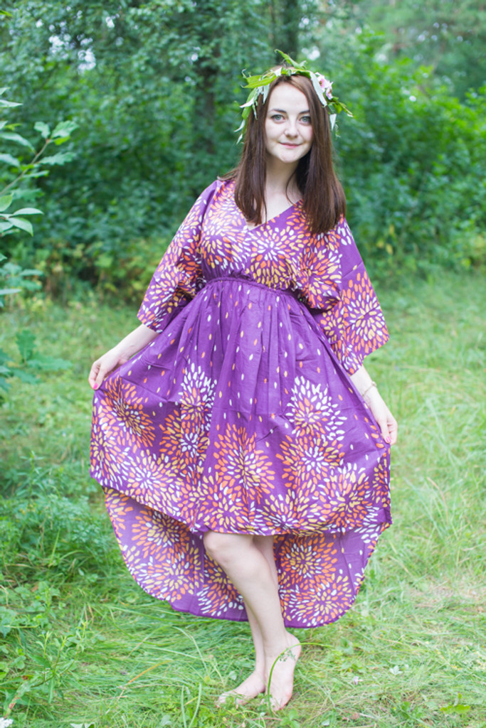 """""""High Low Wind Flow"""" kaftan in Abstract Floral pattern"""