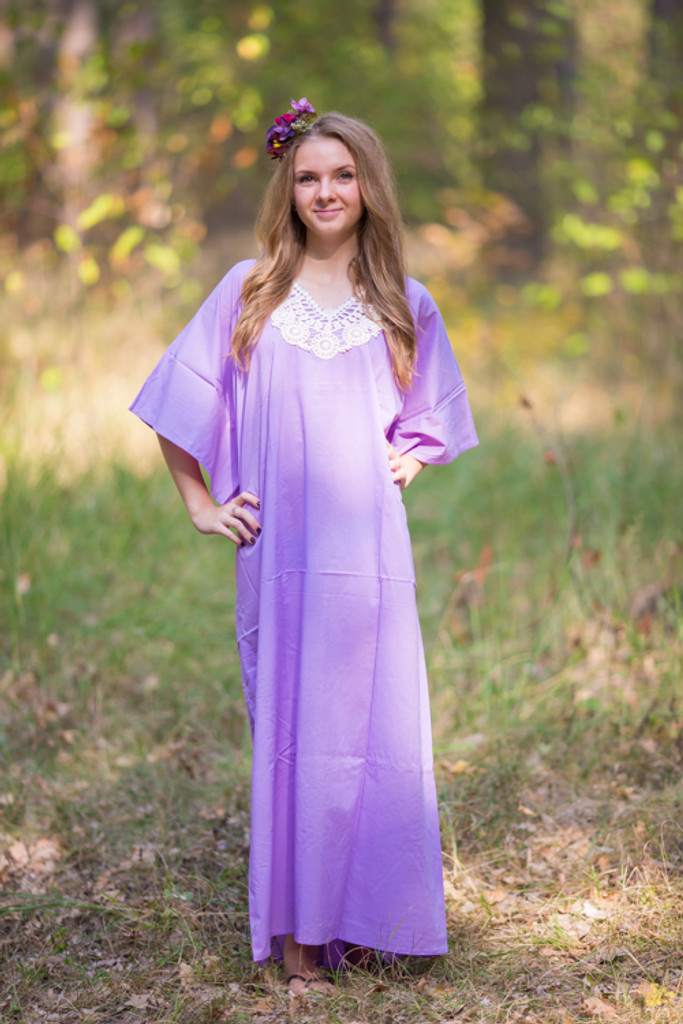 """Luscious Lace"" kaftan in Lilac Ivory"