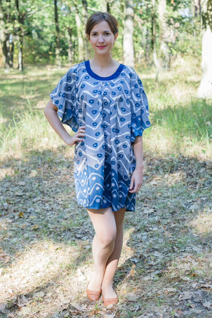 """Summer Celebration"" Tunic Dress kaftan in Chevron Dots pattern"