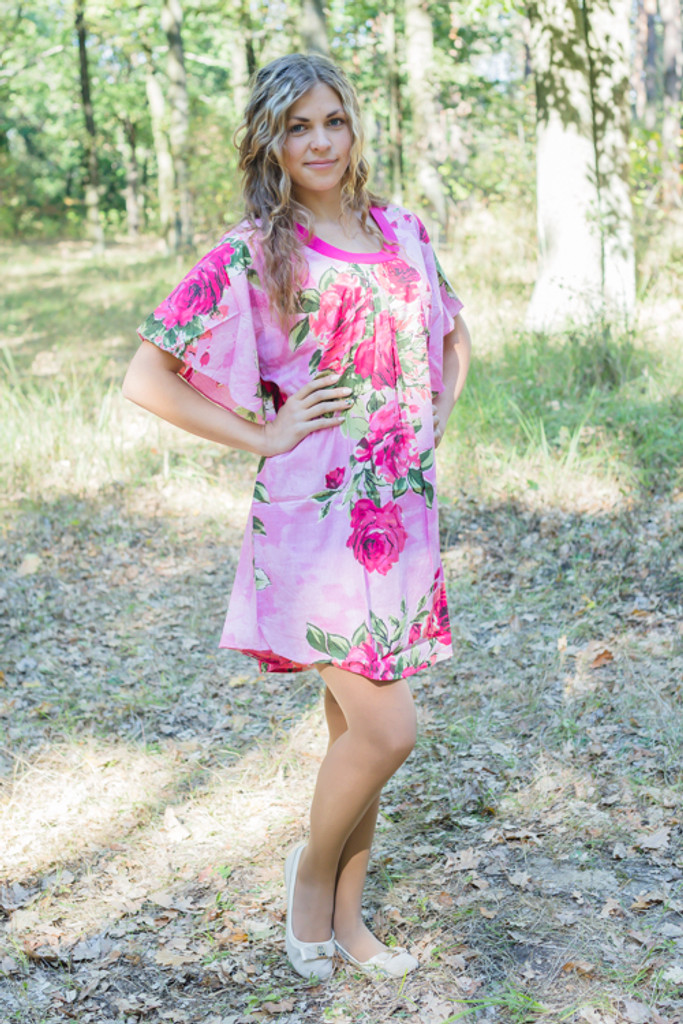 """Summer Celebration"" Tunic Dress kaftan in Large Fuchsia Floral Blossom pattern"