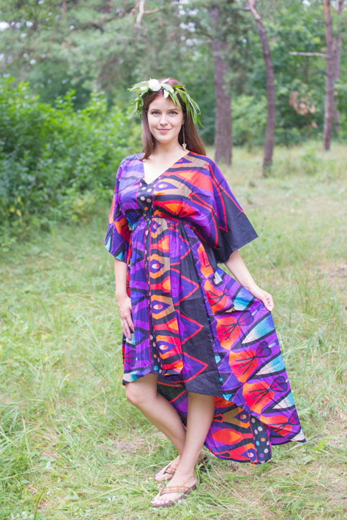 """High Low Wind Flow"" kaftan in Glowing Flame pattern"