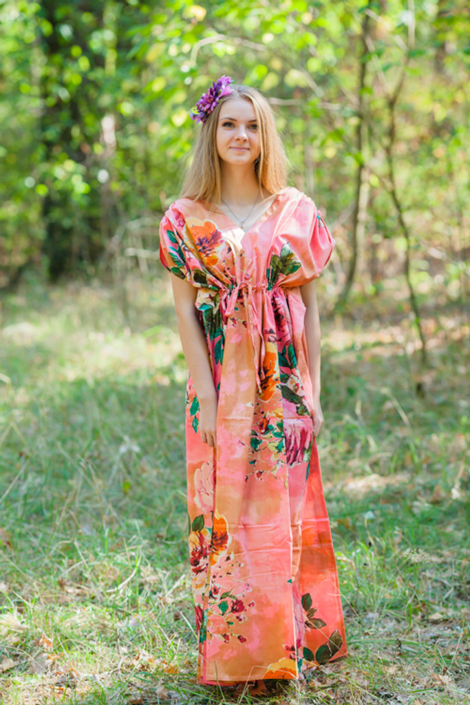 """Magic Sleeves"" kaftan in Large Floral Blossom pattern"