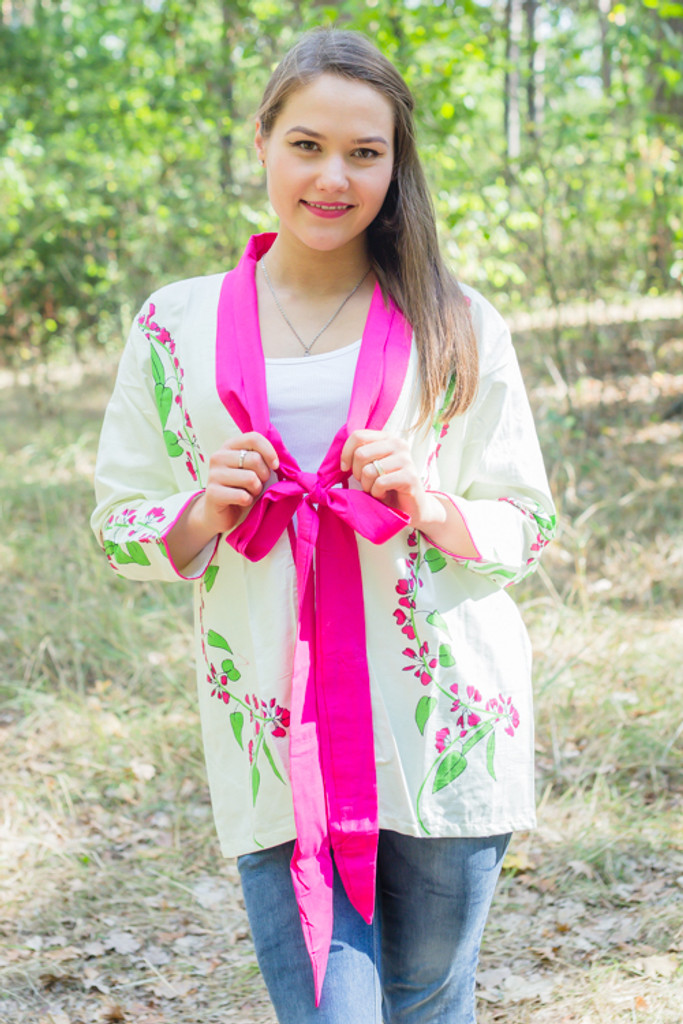 """""""Bow and Me"""" Kimono jacket in Climbing Vines pattern"""