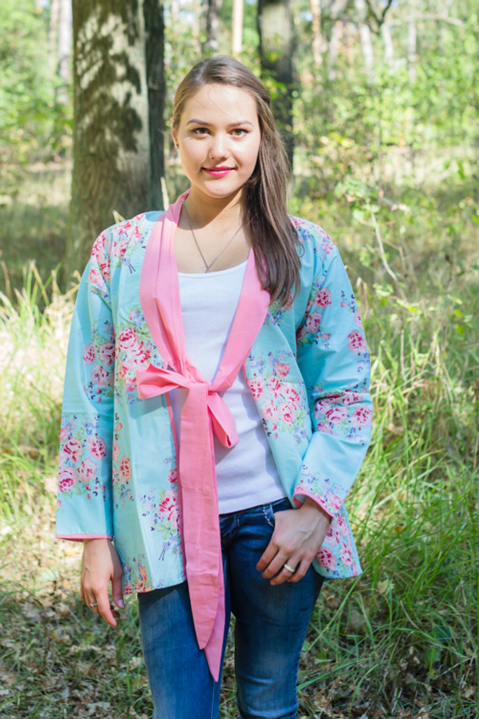 """""""Bow and Me"""" Kimono jacket in Faded Flowers pattern"""