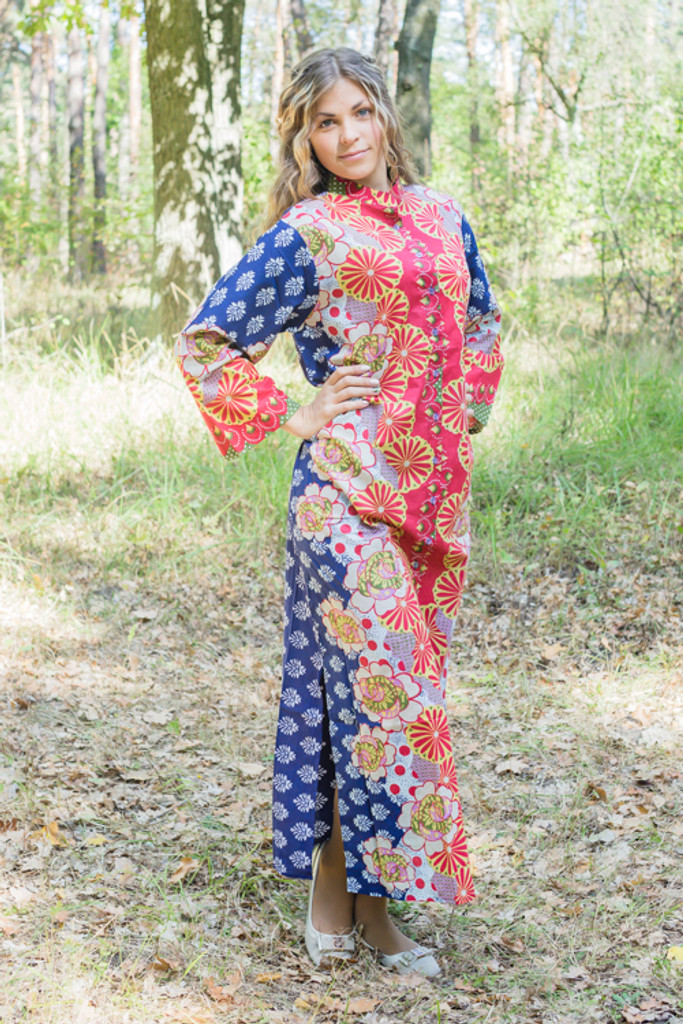 """Charming Collars"" kaftan in Floral Bordered pattern"