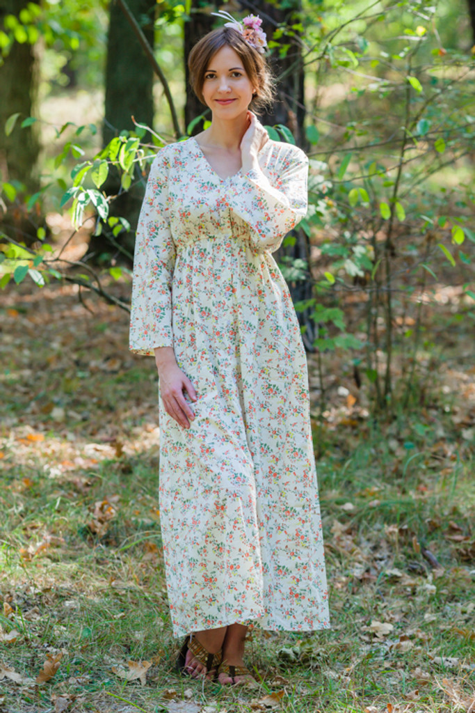 """""""Button me down"""" kaftan in Tiny Blossoms pattern"""