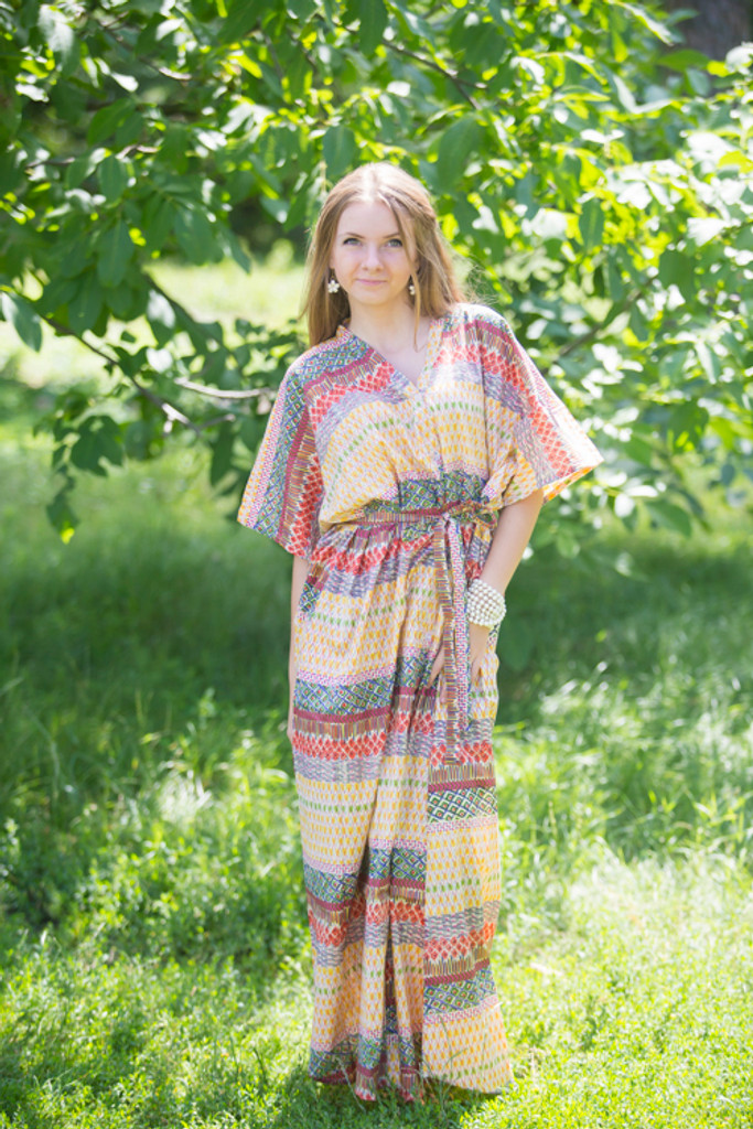"""""""Best of both the worlds"""" kaftan in Abstract Geometric pattern"""