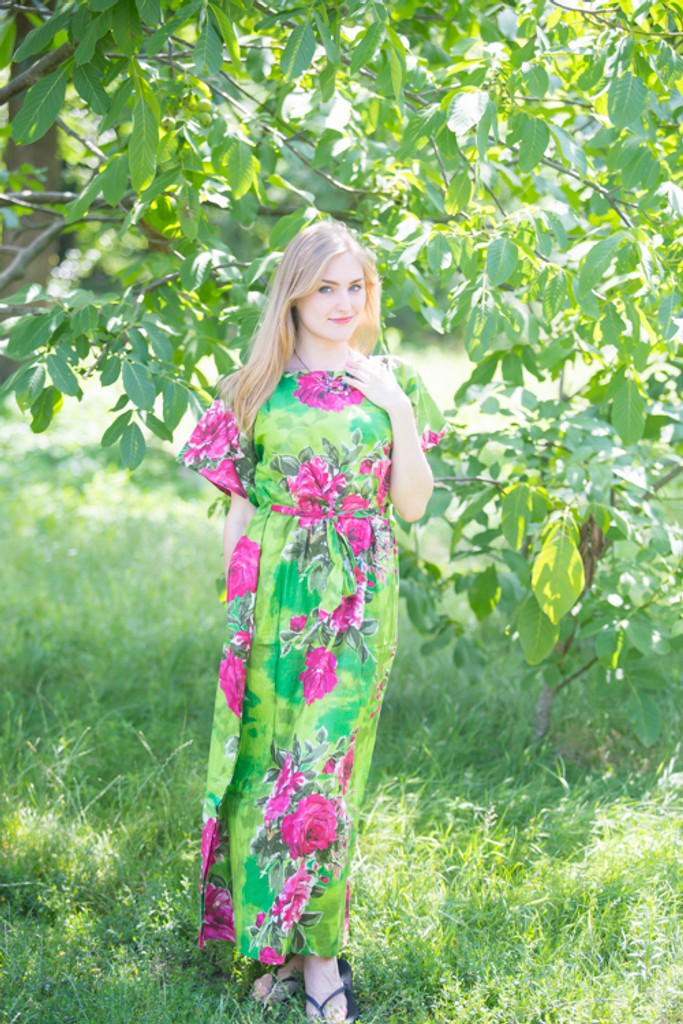 """Divinely Simple"" kaftan in Large Fuchsia Floral Blossom pattern"