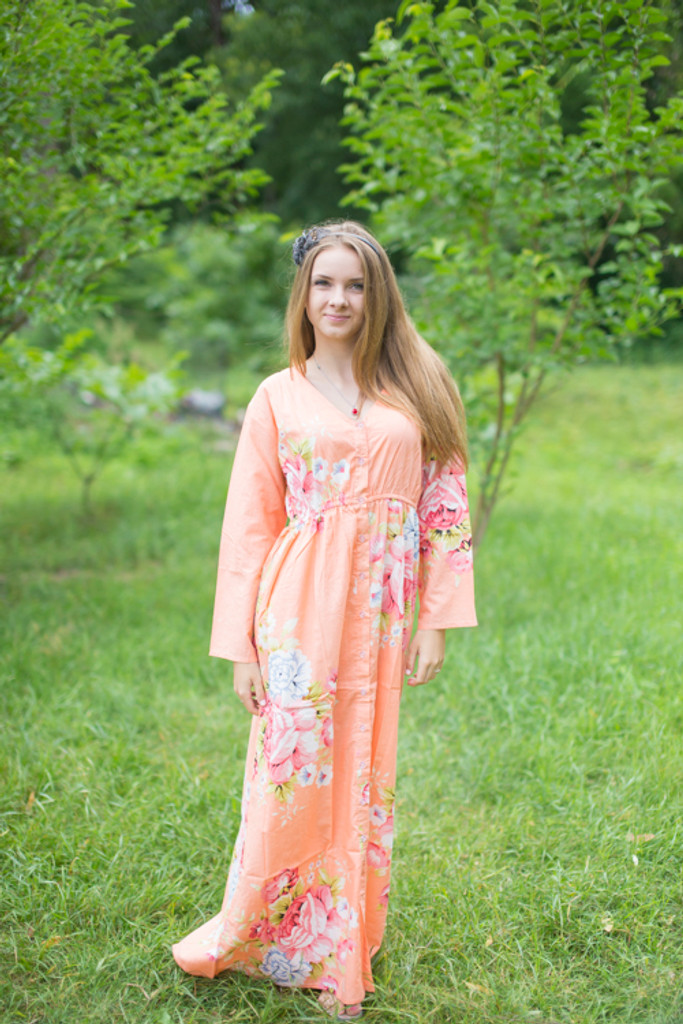 """""""Button me down"""" kaftan in Cabbage Roses  pattern"""